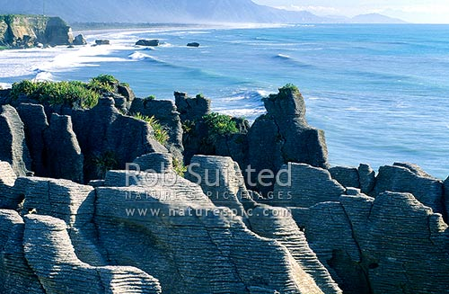 Pancake rocks at Punakaiki, Paparoa National Park, Buller District, West Coast Region, New Zealand (NZ) stock photo.
