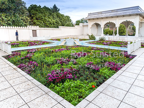 Indian Char Bagh Garden in the Hamilton Gardens, part of the Paradise Collection of the Gardens, Hamilton, Hamilton City District, Waikato Region, New Zealand (NZ) stock photo.