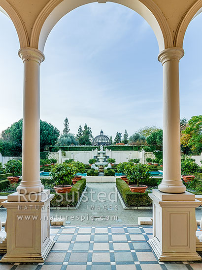 Italian Renaissance Garden in the Hamilton Gardens, part of the Paradise Collection of the Gardens. International Garden of the Year 2014, Hamilton, Hamilton City District, Waikato Region, New Zealand (NZ) stock photo.