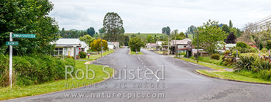 Ohura township, looking down the main Ngarimu Street, through the old commercial centre of the town. Panorama, Ohura, Ruapehu District, Manawatu-Wanganui Region, New Zealand (NZ) stock photo.
