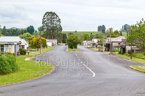 Ohura township, looking down the main Ngarimu Street, through the old commercial centre of the town, Ohura, Ruapehu District, Manawatu-Wanganui Region, New Zealand (NZ) stock photo.