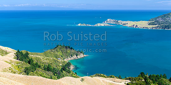 Tasman Bay seen from French Pass above Camp Bay. Sailboat passing Le Brun Peninsula, Hautai Island and D'Urville Island. Separation Point is distance. Panorama, French Pass, Marlborough Sounds, Marlborough District, Marlborough Region, New Zealand (NZ) stock photo.