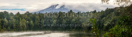 Lake Rotokura nestled in forest below Mount (Mt) Ruapehu. A sacred tapu site for Ngati Rangi, tangata whenua. Panorama, Karioi, Ruapehu District, Manawatu-Wanganui Region, New Zealand (NZ) stock photo.
