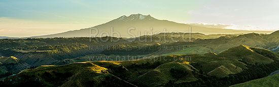 Ohakune farmland panorama at dawn. Mount (Mt) Ruapehu (2797m) and Tongariro National Park above. Ararawa Stream, Ohakune, Ruapehu District, Manawatu-Wanganui Region, New Zealand (NZ) stock photo.