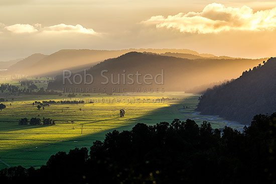 South Westland rainforest and lush dairy farmland on the Cook River Flats (Weheka) bathed in last evening light as bad weather breaks, Fox Glacier, South Westland, Westland District, West Coast Region, New Zealand (NZ) stock photo.