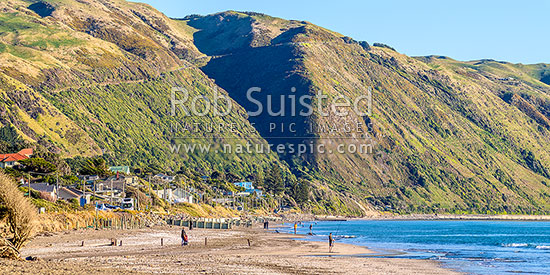 Paekakariki Beach panorama. People fishing and walking on beach, with Paekakariki Hill Road above the small coastal community, Paekakariki, Kapiti Coast District, Wellington Region, New Zealand (NZ) stock photo.