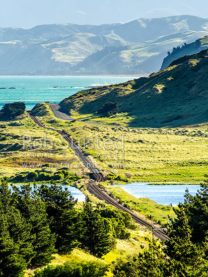 Earthquake changed landscape. Kekerengu Fault ruptured 9 metres seaward through previously flat and straight railway line, creating a dog leg and rise. M7.8 Kaikoura earthquake, Tirohanga, Kekerengu, Kaikoura District, Canterbury Region, New Zealand (NZ) stock photo.