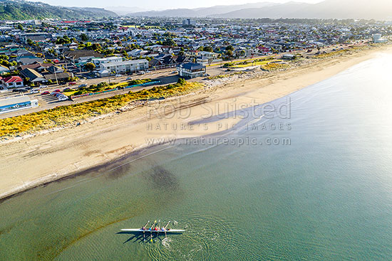 Petone Beach rowing team returning to shore after early morning training sculling. Aerial view with Hutt Valley behind, Petone, Hutt City District, Wellington Region, New Zealand (NZ) stock photo.