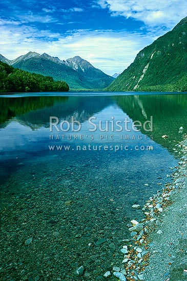 Lake Gunn from northern shore, Eglinton Valley. Clear water in foreground showing stones on lake floor, Fiordland National Park, Southland District, Southland Region, New Zealand (NZ) stock photo.