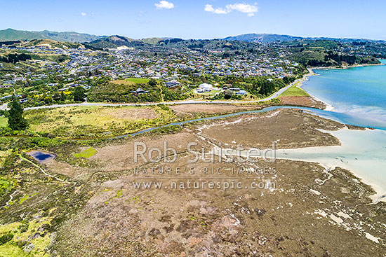 Pauatahanui Inlet and Pauatahanui Wildlife Reserve, with suburb of Whitby beyond. Aerial view, Pauatahanui, Porirua City District, Wellington Region, New Zealand (NZ) stock photo.