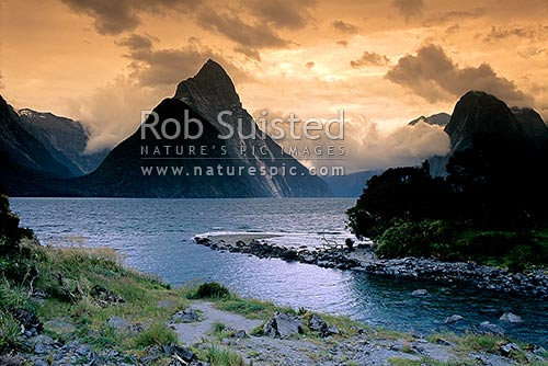 Mitre Peak (1683m) sunset from Cemetery Point. Bowen River in foreground. Fiordland, Milford Sound, Fiordland National Park, Southland District, Southland Region, New Zealand (NZ) stock photo.