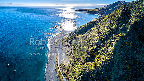 Wellington South Coast. Tongue Point and Karori Rock light, with South Island beyond over Cook Strait. West Wind turbine farm at right. Aerial panorama, Wellington South Coast, Wellington City District, Wellington Region, New Zealand (NZ) stock photo.