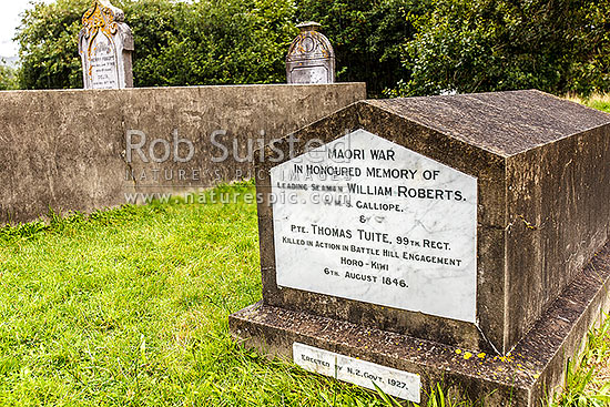NZ war (Maori war) graves at Battle Hill Farm Forest Park, in Horokiri Stream Valley. Leading Seaman Roberts and Private Tuite, killed 6th August 1846. Managed by the GWRC, Pauatahanui, Porirua City District, Wellington Region, New Zealand (NZ) stock photo.