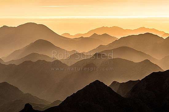 Awatere Valley ridgelines at dawn, looking over the Hodder River, Cam and Isis Streams to the Jordon River and beyond to Cook Strait. Welds Hill (995m) at left. Gladstone Downs and Camden Stations, Awatere Valley, Marlborough District, Marlborough Region, New Zealand (NZ) stock photo.