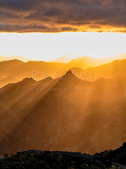 Hodder River Valley sunrise, with dramatic sun rays illuminating ridgelines and valleys on Gladstone Downs and Camden stations. Crepuscular sun rays, Awatere Valley, Marlborough District, Marlborough Region, New Zealand (NZ) stock photo.