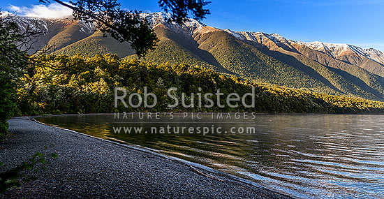 Lake Rotoiti dawn. Nelson Lakes National Park. St Arnaud Range above Kerr Bay, St Arnaud, Tasman District, Tasman Region, New Zealand (NZ) stock photo.