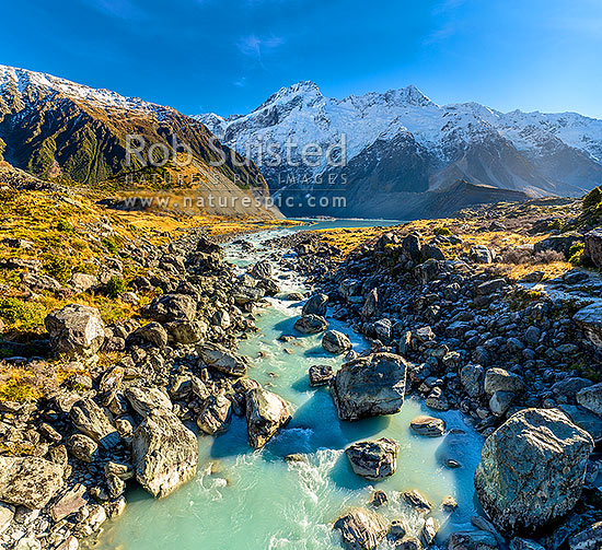 Mt Sefton (3151m) above the Mueller Glacier lake and valley, with Hooker River rushing past. Southern Alps, Main Divide. Square format, Aoraki / Mount Cook National Park, MacKenzie District, Canterbury Region, New Zealand (NZ) stock photo.