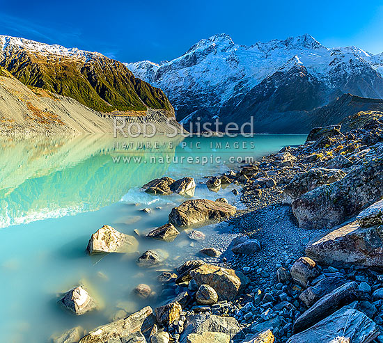 Mt Sefton (3151m centre) and Footstool (2764m right) above the Mueller Glacier lake and valley. Southern Alps, Main Divide. Square format, Aoraki / Mount Cook National Park, MacKenzie District, Canterbury Region, New Zealand (NZ) stock photo.