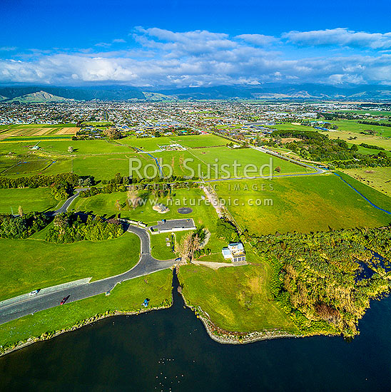 Levin Township seen from Lake Horowhenua Domain. Tararua Ranges beyond. Aerial view from the west. Square format, Levin, Horowhenua District, Manawatu-Wanganui Region, New Zealand (NZ) stock photo.