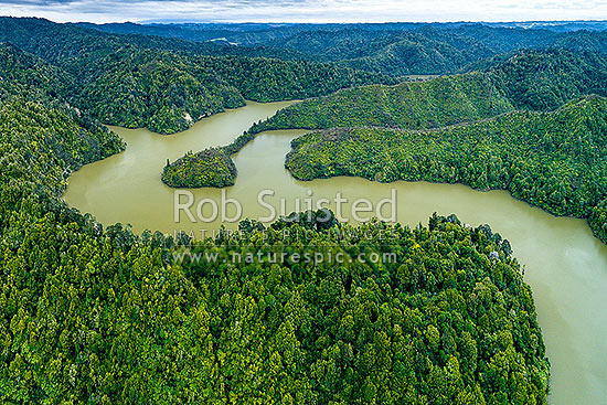 Lake Rotorangi, behind the Patea Dam on the Patea River. A 46km long man made hydro power lake. Aerial view. Tarere Conservation Area forest, Patea, South Taranaki District, Taranaki Region, New Zealand (NZ) stock photo.