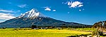 Mt Taranaki and farmland pano