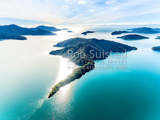 Blumine Island (Oruawairua) in Queen Charlotte Sound. Long Island, Motuara Island and Cape Jackson behind. Pickersgill and Arapawa Islands at right. Aerial view, Marlborough Sounds, Marlborough District, Marlborough Region, New Zealand (NZ) stock photo.