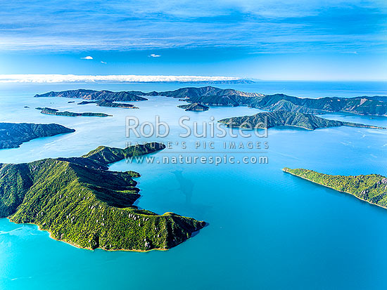 Endeavour Inlet, Queen Charlotte Sound. Scott Point centre, Marine Head bottom, Edgecombe Point right, with Arapawa Island, Cook Strait and Wellington behind. Long Island left. Aerial view, Marlborough Sounds, Marlborough District, Marlborough Region, New Zealand (NZ) stock photo.