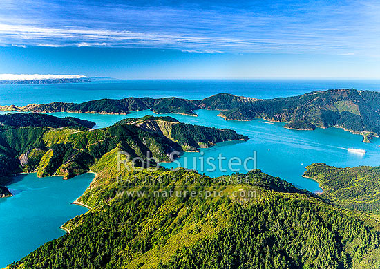 Tory Channel with Interislander Ferry, seen from above Cook's Lookout (low right) on Arapawa Island. Umuwheke Bay left, Ngaruru Bay at right. Cook Strait and North Island beyond left. Aerial view, Marlborough Sounds, Marlborough District, Marlborough Region, New Zealand (NZ) stock photo.