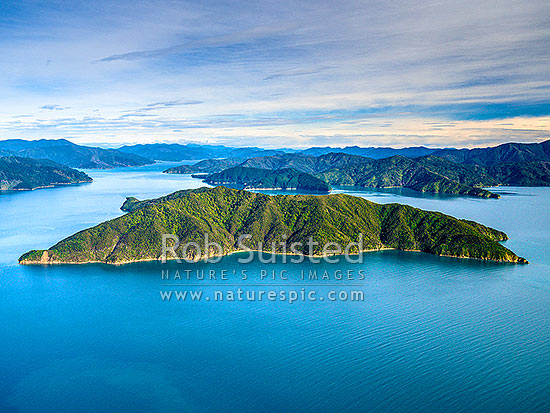Blumine Island (Oruawairua) in Queen Charlotte Sound. Seen from the North. Patten Passage to left, Picton and Grove arm distant left, Marlborough Sounds, Marlborough District, Marlborough Region, New Zealand (NZ) stock photo.