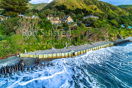 Sea wall protecting houses from coastal erosion of the foreshore. Construction that will become more common with sea level rise, Paekakariki, Kapiti Coast District, Wellington Region, New Zealand (NZ) stock photo.