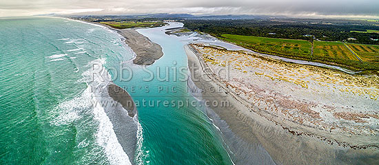 Taramakau River mouth, estuary and sand bars. Aerial panorama looking north over surf, Kumara Junction, Westland District, West Coast Region, New Zealand (NZ) stock photo.