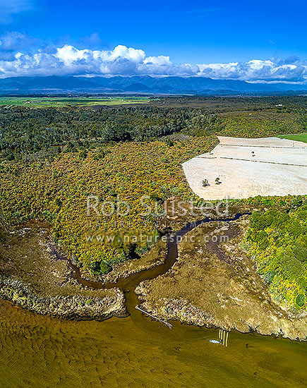 Whitebait habitat loss from development of wetlands into farmland. Whitebaiter with spotter boards waits to catch returning whitebait fish to the estuary. Okari River and Okari Lagoon. Aerial view, Charleston, Buller District, West Coast Region, New Zealand (NZ) stock photo.