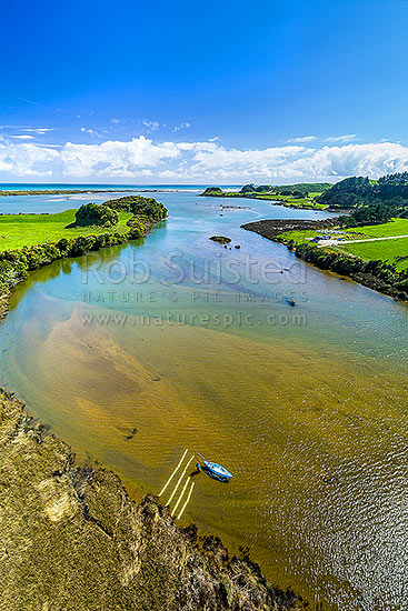 Whitebait fishing on the Okari Lagoon and River. Spotter boards help to see whitebait fish swimming underwater before netting. Aerial view, Charleston, Buller District, West Coast Region, New Zealand (NZ) stock photo.