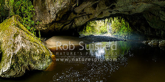 Oparara Arch. The Oparara River entering the little Oparara arch (Moria Gate). Clean, dark, tanin stained water moving slowly under the limestone arch. Panorama, Karamea,Kahurangi National Park, Buller District, West Coast Region, New Zealand (NZ) stock photo.