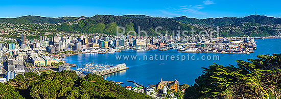 Wellington City CBD, Lambton Harbour, Port and hillside suburbs of Northland, Wadestown, Seen from Mt Victoria. St Gerards Monastry centre. Panorama, Wellington, Wellington City District, Wellington Region, New Zealand (NZ) stock photo.