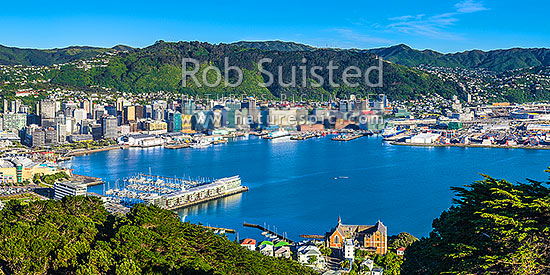 Wellington City CBD, Lambton Harbour, Port and hillside suburbs seen from Mt Victoria. Clyde Quay Wharf centre left, and St Gerards Monastry right. Panorama, Wellington, Wellington City District, Wellington Region, New Zealand (NZ) stock photo.