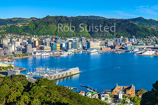 Wellington City CBD, Lambton Harbour, Port and hillside suburbs seen from Mt Victoria. Clyde Quay Wharf left, and St Gerards Monastry lower right, Wellington, Wellington City District, Wellington Region, New Zealand (NZ) stock photo.