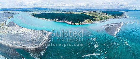 Aotea harbour entrance, looking over Potahi Point and Potoorangi Bay (left) towards Aotea, Maukutea Beach, Nihinihi Point and Kahua Point. Kawhia harbour beyond right. Aerial panorama, Aotea, Otorohanga District, Waikato Region, New Zealand (NZ) stock photo.