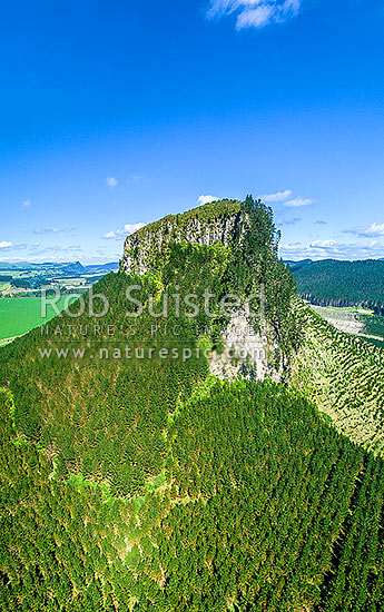 Mt Pohaturoa Peak (540m), a lava dome 240m high in Maroa volcanic centre, historic Pa site for Maori, and significant to Ngati Whaita. Aerial panorama, Atiamuri, Taupo District, Waikato Region, New Zealand (NZ) stock photo.