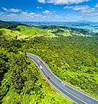 Kaimais road climbing from the Waikato