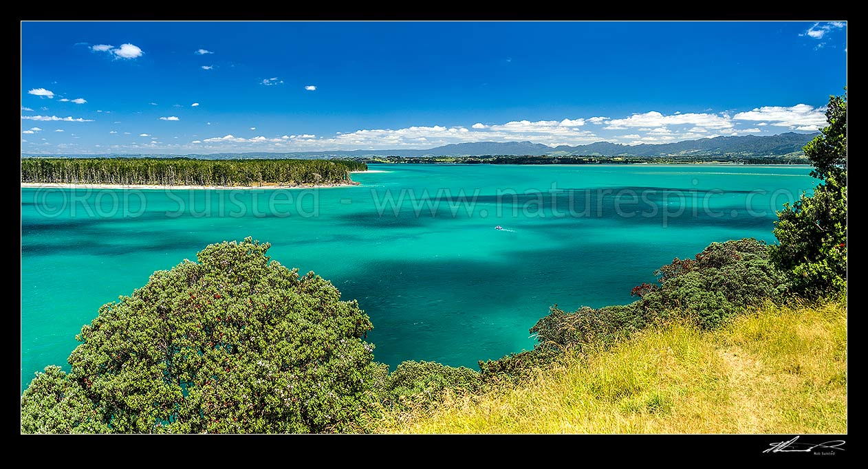 Image of Tauranga Harbour at Katikati entrance from Papatu Point Pa site. Matakana Island top left. Panorama, Bowentown, Waihi Beach, Western Bay of Plenty District, Bay of Plenty Region, New Zealand (NZ) stock photo image