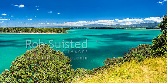 Tauranga Harbour at Katikati entrance from Papatu Point Pa site. Matakana Island top left. Panorama, Bowentown, Waihi Beach, Western Bay of Plenty District, Bay of Plenty Region, New Zealand (NZ) stock photo.