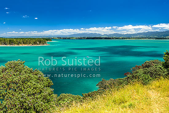 Tauranga Harbour at Katikati entrance from Papatu Point Pa site. Matakana Island top left, Bowentown, Waihi Beach, Western Bay of Plenty District, Bay of Plenty Region, New Zealand (NZ) stock photo.
