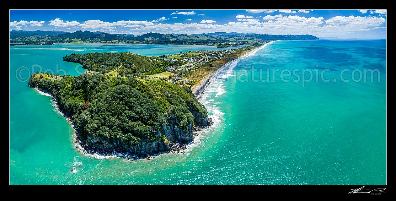 Image of Waihi Beach and Bowentown Heads seen from above Te Ho Pa site on Eastern Hill. Looking along Ocean Beach towards Waihi Beach and Rapatiotio Point at right. Aerial panorama, Bowentown, Waihi Beach, Western Bay of Plenty District, Bay of Plenty Region, New Zealand (NZ) stock photo image