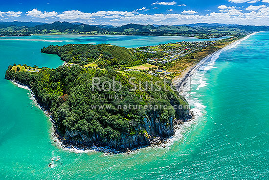 Waihi Beach and Bowentown Heads seen from above Te Ho Pa site on Eastern Hill. Looking along Ocean Beach towards Waihi Beach and Rapatiotio Point at right. Aerial view, Bowentown, Waihi Beach, Western Bay of Plenty District, Bay of Plenty Region, New Zealand (NZ) stock photo.