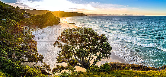 Otama Beach sunset, looking along Otama Beach to Motuhua Point. Summertime panorama, Otama Beach, Coromandel Peninsula, Thames-Coromandel District, Waikato Region, New Zealand (NZ) stock photo.