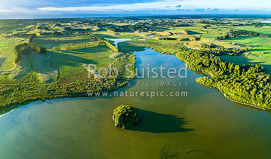 Lake Papaitonga with Motungarara Island below. Horowhenua Plains and coast behind. Aerial panorama, Papaitonga Scenic Reserve, Levin, Horowhenua District, Manawatu-Wanganui Region, New Zealand (NZ) stock photo.
