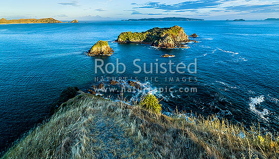 Opito Point Historic Reserve, looking over Rabbit Island towards Mercury Islands and Great Mercury. Tokarahu Point far left. Aerial view, Opito Bay, Coromandel Peninsula, Thames-Coromandel District, Waikato Region, New Zealand (NZ) stock photo.