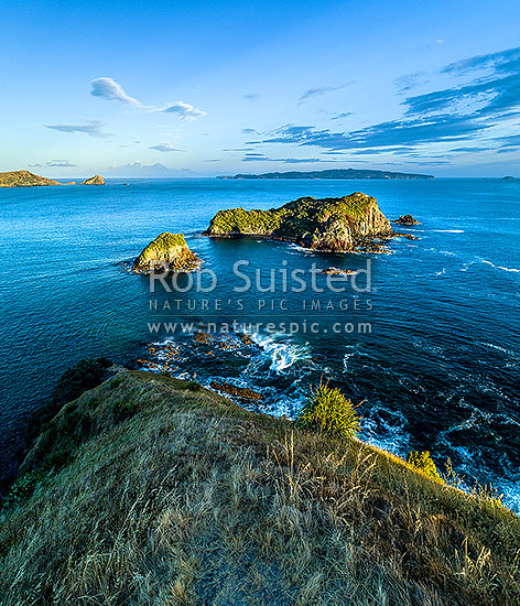 Opito Point Historic Reserve, looking over Rabbit Island towards Mercury Islands and Great Mercury. Tokarahu Point far left. Aerial view, square format, Opito Bay, Coromandel Peninsula, Thames-Coromandel District, Waikato Region, New Zealand (NZ) stock photo.
