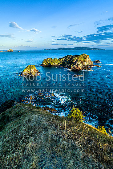 Opito Point Historic Reserve, looking over Rabbit Island towards Mercury Islands and Great Mercury, Opito Bay, Coromandel Peninsula, Thames-Coromandel District, Waikato Region, New Zealand (NZ) stock photo.